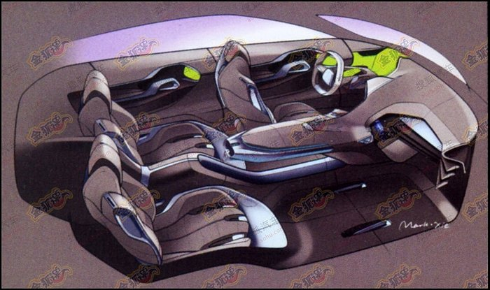 Peugeot Crossover Concept croquis habitacle